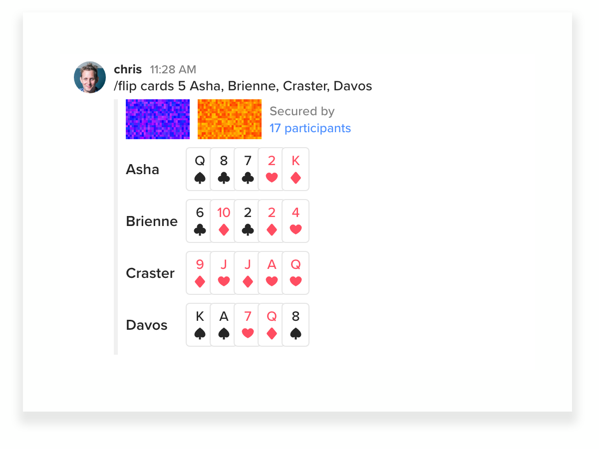A screenshot of a coin flip variant randomly dealing 5 cards each to 4 participants