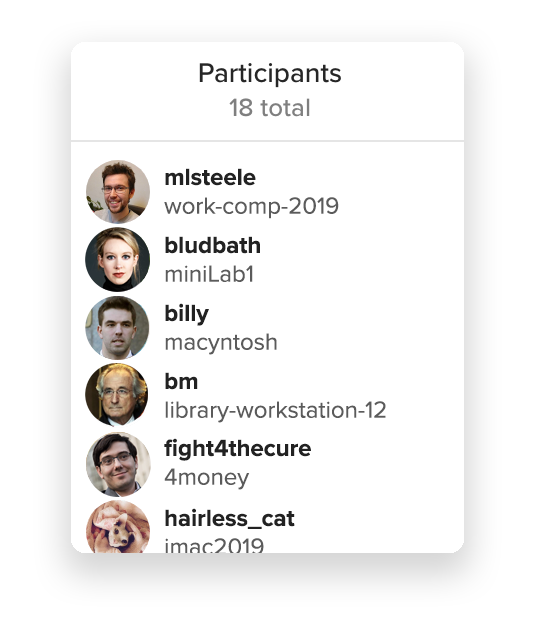 A screenshot of the list of participants of a Keybase chat coinflip