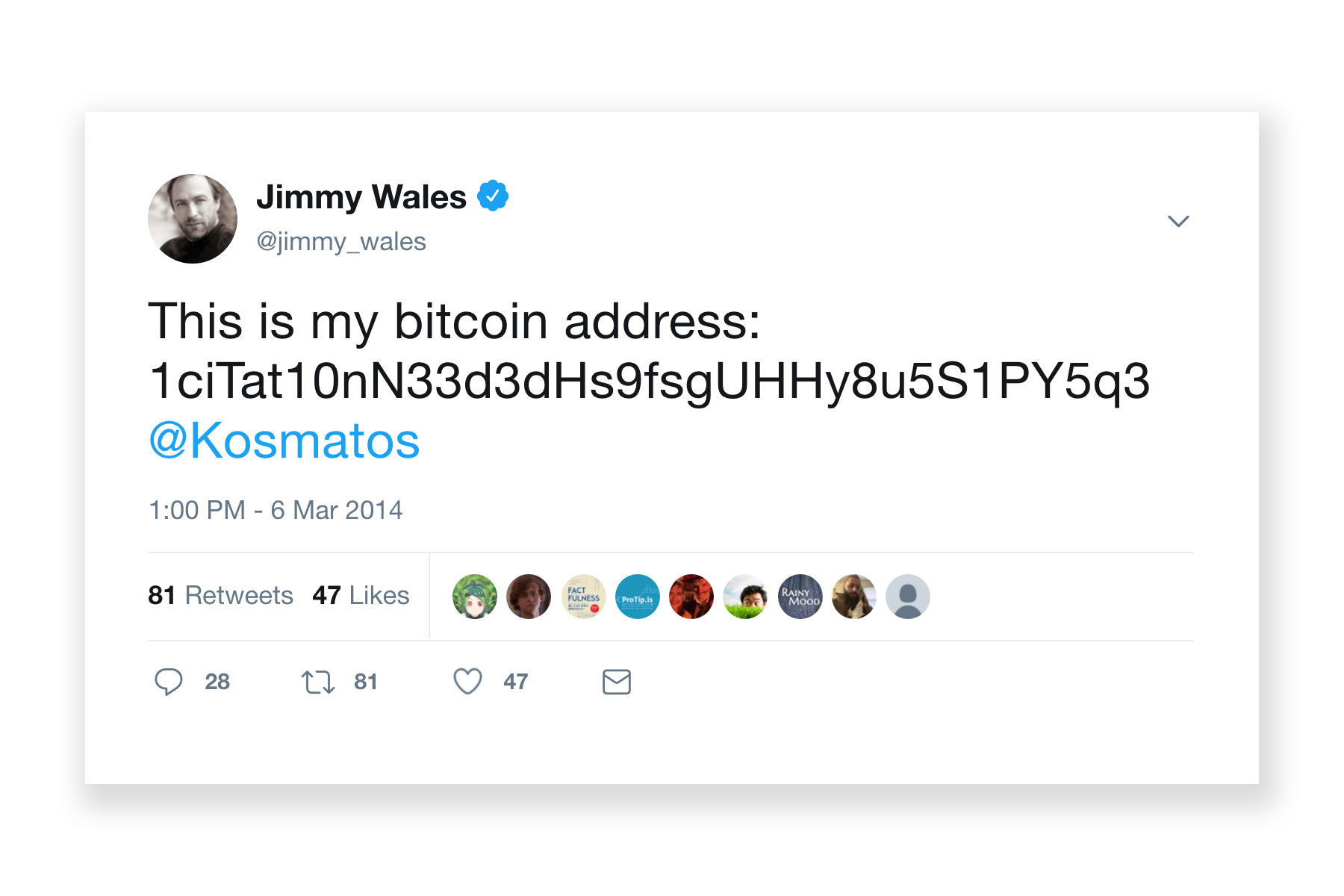Jimmy Wales tweeting his Bitcoin address
